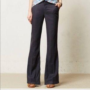 Level 99 Anthropologie Linen Flare Trouser